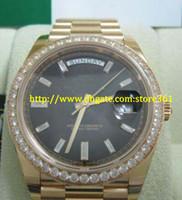 Store361 새로운 도착 시계 탑 고품질 자동 망 시계 40mm 대통령 18kt 옐로우 골드 블랙 바게뜨 다이얼 228398