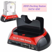 Al por mayor-Multifuncional HDD Docking Station Dual USB 2.0 2.5 / 3.5 pulgadas IDE SATA External HDD Box Disco duro Drive Card Reader