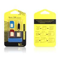 Alüminyum Metal Nano SIM Mikro SIM Kart Adaptörü Dönüştürücü Çıkarma Pimi Set 5 in 1 Cep telefonları için