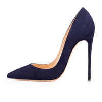 Zandina Senhoras Handmade Moda ASO-kate 120mm Dedo Apontado Do Partido Clássico Magro Bombas de Salto Stiletto Sapatos de Camurça Azul Z62512