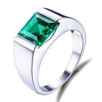 Victoria Wieck Trendy Takı Solitaire Ametist Gemstones 925 Ayar Gümüş Simüle Elmas CZ Parti Düğün Erkekler Band Yüzük Hediye SZ8-12