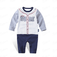 Infant Boy Romper Spring Jumpsuits Number Pattern Striped Co...