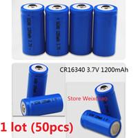 50 pz 1 lotto 16340 CR123A 3.7 V 1200 mAh agli ioni di litio Li-Ion Batteria Ricaricabile 3.7 Volt li-ion batterie spedizione gratuita