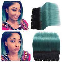 Ombre Brasilianisches Reines Haar 3 Stücke Menschliches Haar Ombre Extensions 1B Türkis Grüne Haarwebart Zwei Ton Körperwelle Bundles 300G