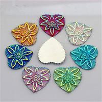 30 Unids 30mm AB Color Resina Rhinestones Corazón Flatback Beads Resina Piedras Cristalinas Botones Cabochon Decoración ZZ529
