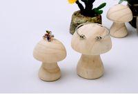 [Sencillo Siete] Muji Style Forma de seta Soporte de anillo Pulsera de madera natural soportes Joyería Brazalete de exhibición