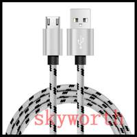 مايكرو USB V8 نوع C شحن مزامنة بيانات كابل النايلون مضفر شاحن عالي السرعة USB 3ft 1M 6ft 2M 10FT 3M لالروبوت