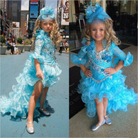 2017 Bling Blue Girl's Pagant Klänningar med Kristaller Blommor Tjejer Prom Evening Party Dress Flower Girl Dresses