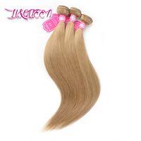 Brasilianisches reines Menschenhaar 27 # blonde glatte Haare spinnt brasilianische Bündel-Haar-Schuss-Königin-Schönheits-spinnt