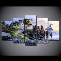 Canvas Paintings Printed 5 Pieces largemouth bass fishing Wa...