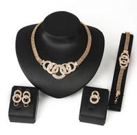 Accessori per matrimoni estivi Set di gioielli perline africane Collana per orecchini da sposa in cristallo color oro