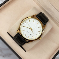2018Top brand Fashion golden genuine leather watch Big dial ...