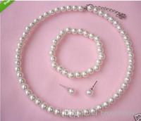 Crème Faux Acrylique Perle Collier Choker Perlé Bracelet et Boucles D'Oreilles Parures De Bijoux