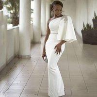 Beyaz Zarif Bir Omuz Abiye giyim Saten Mermaid Gelinlik Modelleri Güney Afrika Kadınlar Örgün Parti Vestidos Custom Made