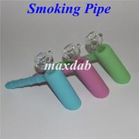 Lueur dans le noir mini tuyau d'eau en silicone bong forme de marteau pipes à main en silicone fumer pipes à tabac plate-forme pétrolière