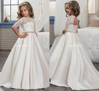2018 Custom Princess Mezza manica Holy Lace White Comunione Dress Little Girls Perline Perline Party Dress Bambini Wedding Flower Girls Dresses