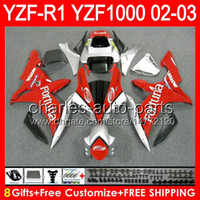 8Gifts Body for Yamaha yzfr1 02 03 yzf1000 yzf-r1 02-03 FORTUNA RED 92NO58 YZF 1000 YZF-1000 YZF R 1 YZF R1 2002 2003 FORTUNA BLANCO FIRANTE