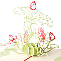 New Laser Cut Hochzeitsfeier Einladungen POP Up Karte 3D Wasser Lily Flower Geburtstag Grußkarten