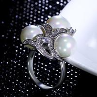 Novo Mais Recente anel de design anel de pérola branca Presente de Aniversário Na Moda Com alta qualidade de cristal CZ Agradável Anel