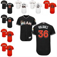 2017 Miami Marlins Jersey 34 Tom Koehler 35 David Phelps 36 Edinson Volquez 41 Justin Bour 43 Odrisamer Despaigne Flexbase Onfiled Jersey