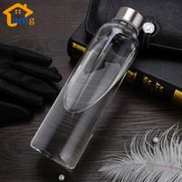 Bottiglia d'acqua in vetro con custodia protettiva da 280ml Bere bottiglie di vetro per te da viaggio in vetro sano per lo sport spedizione gratuita