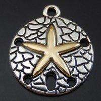 Wholesale-15pcs / Pack Antique Argent Alliage Argent Roundfish Collier Charms Pendentif Bijoux Faire artisanat à la main Femme Cadeau 22 * 19 * 2mm 50080