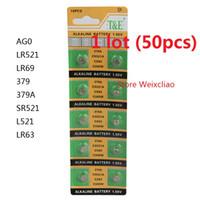 50 stücke 1 los AG0 LR521 LR69 379 379A SR521 L521 LR63 1,55 V Alkalische Knopfzellenbatterie-Münzbatterien Freies Verschiffen