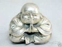 Rara eccellente statua del Buddha d'argento del Tibet