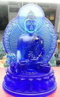 Neue Buddha-Statuenapotheker lapislazuli beleuchten 7 Farben blaues Grünweiß bernsteinfarbige Glasurmedizinguru Buddha-Buddhismusstatue im Land
