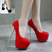 16cm Ultra high heels platform stiletto heels red wedding sh...