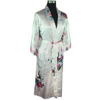 도매 - 백인 여성 목욕 가운 가운 가운 숙녀 가짜 실크 섹시한 기모노 잠옷 플러스 사이즈 M L XL XXL XXXL Pijama Mujer LS0001A