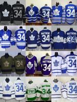 Tomada de fábrica Toronto Maple Leafs # 34 Auston Matthews # 34 Reimer Azul Branco Roxo Preto Verde Mais novo hóquei no gelo jersey frete grátis