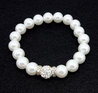 Gioielli da bracciale regolabili fatti a mano in strass con perle sintetiche fatti a mano da 120 pz