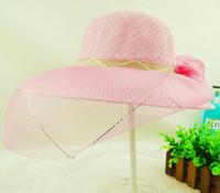 2017 Nouveau Mode Large Bord de plage chapeau Femmes Église De Mariage De Mariée Kentucky Derby D'été Large Bord Chapeau Organza Femelle