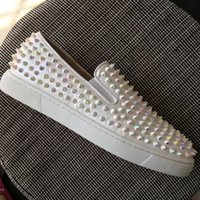 New Arrival mens womens white leather with glitter spikes lo...