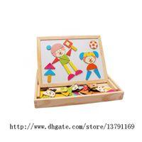 De madeira Multi-funcional Aprendizagem Educação Jogo Magnético Jigsaw Puzzle Toy Box com Blackboard Whiteboard para crianças para desenhar