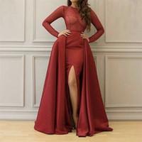 Moda Bordo O Boyun Dantel Uzun Kollu Evenign Törenlerinde Yan Yarık El Boncuk Mermaid Gelinlik Modelleri Overskirt ile