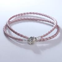 Pulseira de couro rosa pulseira com fecho de prata esterlina se encaixa Originais encantos mulher diy moda jóias fazendo