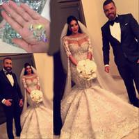 2017 sjöjungfru vackra bröllopsklänningar lyx kristall pärlstav applikationer långärmade brudklänning fantastiska sexiga mode organza bröllopsklänningar