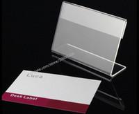 Akrilik T1.3mm Temizle L Şekli Masa Burcu Fiyat Etiketi Etiket Ekran Standı Kağıt Promosyon isim Kartı masası çerçeve etiket ekran tutucu 20 adet