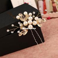 6 pz foglia d'oro foglia a forma di forma di capelli bastoni perla clip perla vintage perni di capelli vintage accessori da sposa in cristallo bridal gioielli gioielli