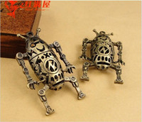 57*32MM Zinc alloy bronze hollow robot leader charms necklac...