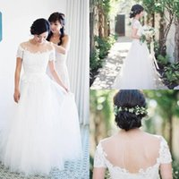 ロマンチックな2017新しいシアークルーネックボーのウェディングドレス半袖キーホールバックレースアップリケチュールAラインの結婚式のブライダルガウン