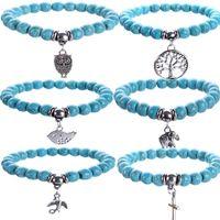 Бирюзовые браслеты Сова дерево жизни крест подвески браслеты браслеты Шарм натуральный камень Браслет йога ювелирные изделия Мужчины Женщины