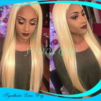 Top Selling Silky Straight Wig blonde Synthetic Lace Front W...