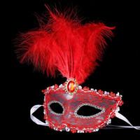 Frauen Spitze Sexy Maske Hallowmas Venezianische Augenmaske Maskerade Halloween Masken mit Feder Geburtstag Ostern Prinzessin Dance Party Maske MOQ: 10 stücke