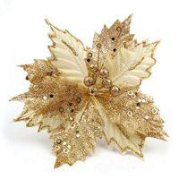 Блеск Большой рождественский цветок Поинсеттиа поддельные цветок Рождественская елка 22 см 8.6 дюймов свадьба украшение орнамент