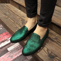Green Black Loafers Satin Dress Wedding Shoes Flat heel Genu...