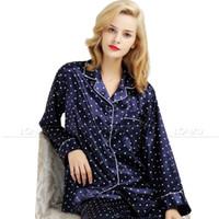 Оптовая продажа-женские шелковые атласные пижамы пижамы набор пижамы пижамы набор пижамы Loungewear S, M, L, XL, 2XL, 3XL плюс_ _ подходят все сезоны