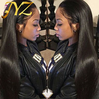 Silky Straight Human Hair Wigs Lace Front wigs Natural Color...